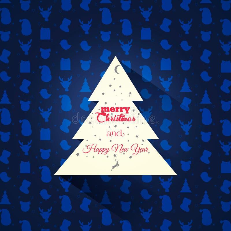 cardez la salutation de Noël Arbre de Noël sur un fond de modèle image libre de droits