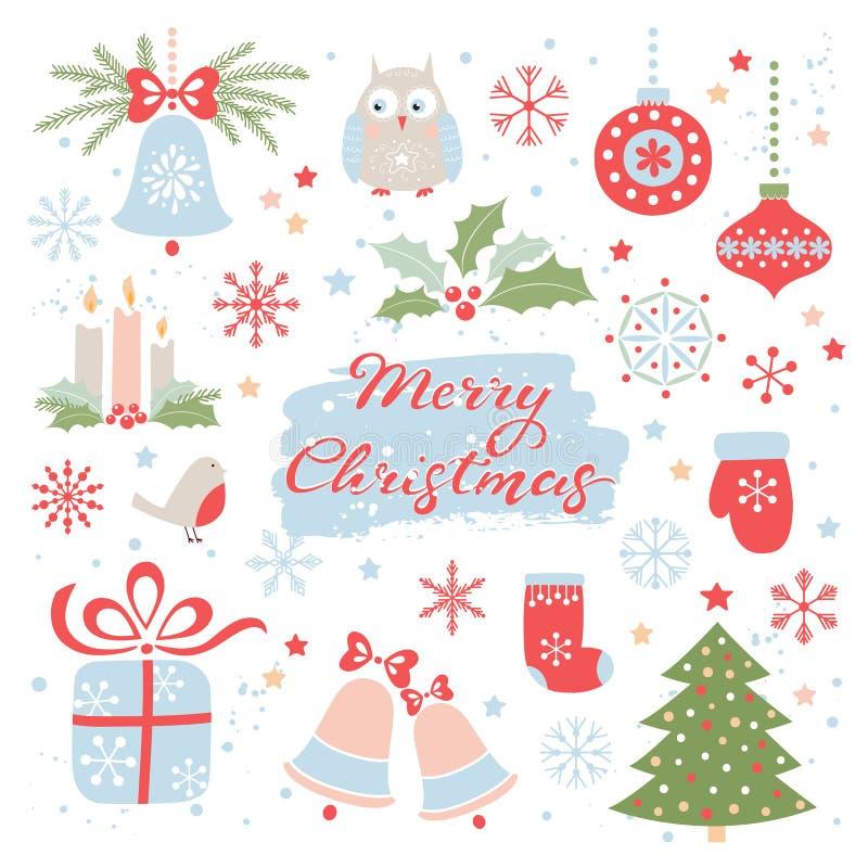 cardez la salutation de Noël Ensemble de vecteur d'éléments de Noël photo libre de droits