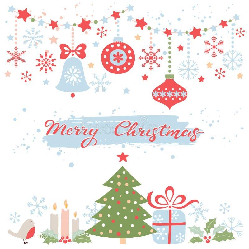 cardez la salutation de Noël Ensemble de vecteur d'éléments de Noël image libre de droits