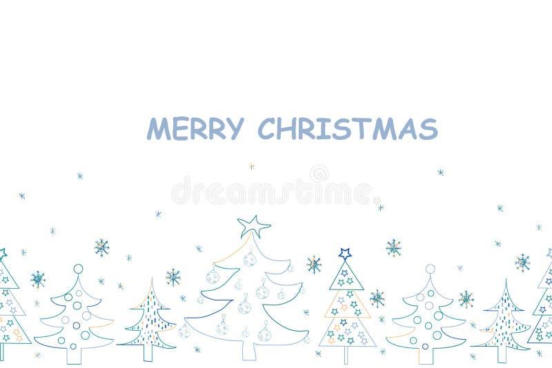 cardez la salutation de Noël Fond tiré par la main de vacances avec Sant illustration de vecteur
