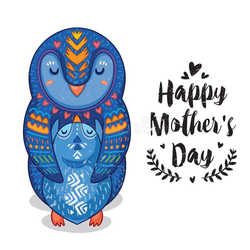 Cardez pour le jour de mères avec des pingouins illustration stock