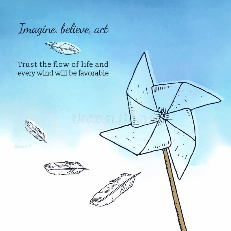 Cardi il modello con la girandola, le piume ed il testo ispiratore royalty illustrazione gratis