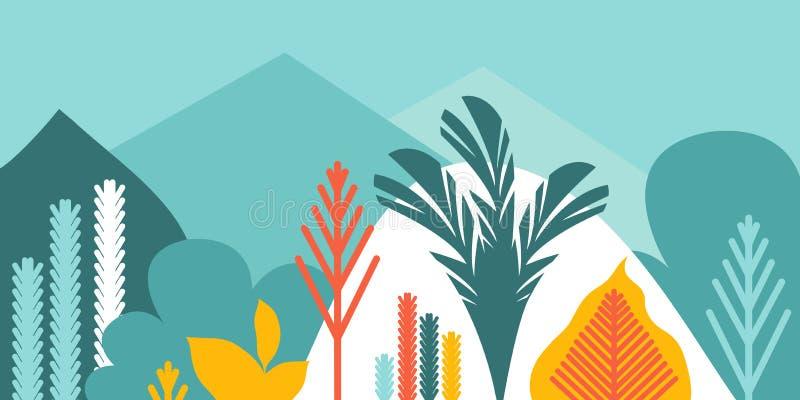 Cardi l'invito dell'insegna con le colline e le montagne d'abbellimento tropicali degli alberi delle piante Conservazione dell'am illustrazione vettoriale