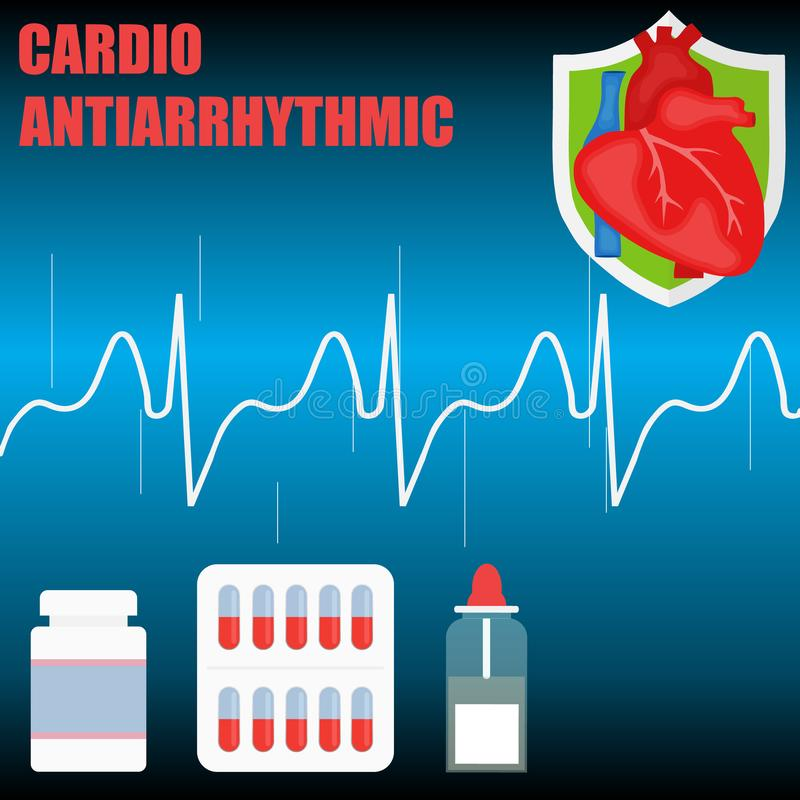 Cardiac antiarrhythmic concept. The concept of a healthy heart. vector illustration