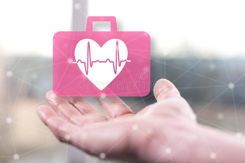 Concept of cardiac emergency stock images