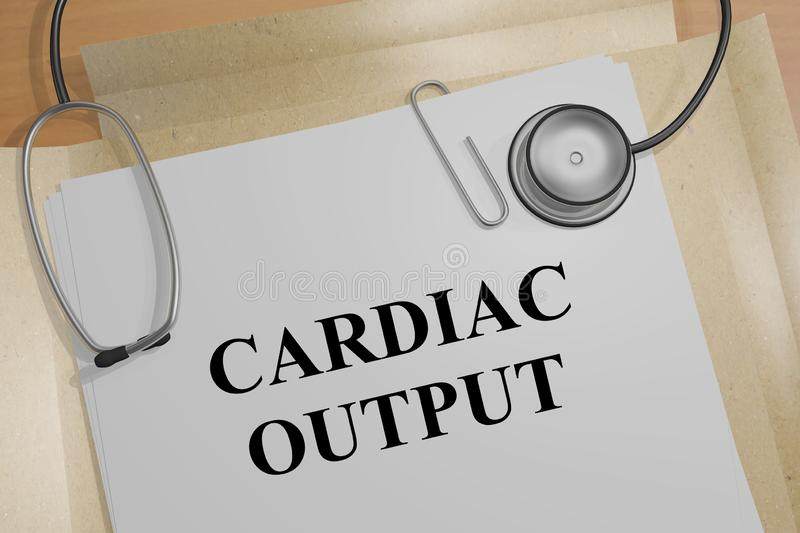 CARDIAC OUTPUT concept. 3D illustration of CARDIAC OUTPUT title on a medical document, 4, chambers, aorta, artery, bicuspid, valve, blood, flow, checkup, chordae royalty free illustration
