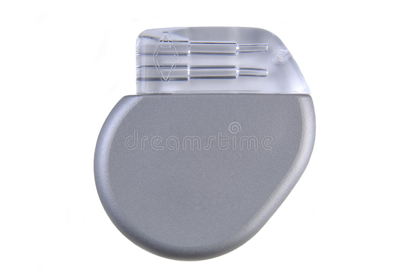 Cardiac Pacemaker. A cardiac pacemaker (~ 8mm thin, volume 12cc, 26 grams, implantable) to help regulate abnormal heart rhythms. (12MP camera, isolated, macro stock image