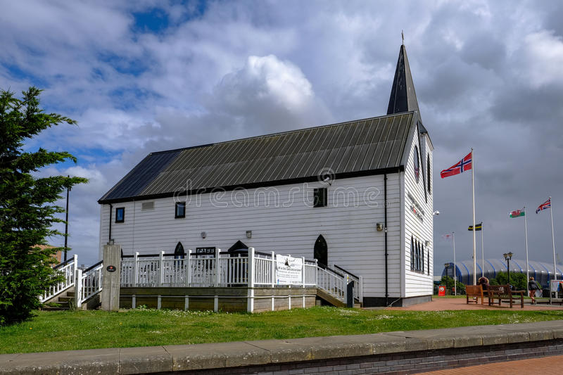 Cardiff Bay, Cardiff, Wales - May 20, 2017: Norwegian Church and royalty free stock photography