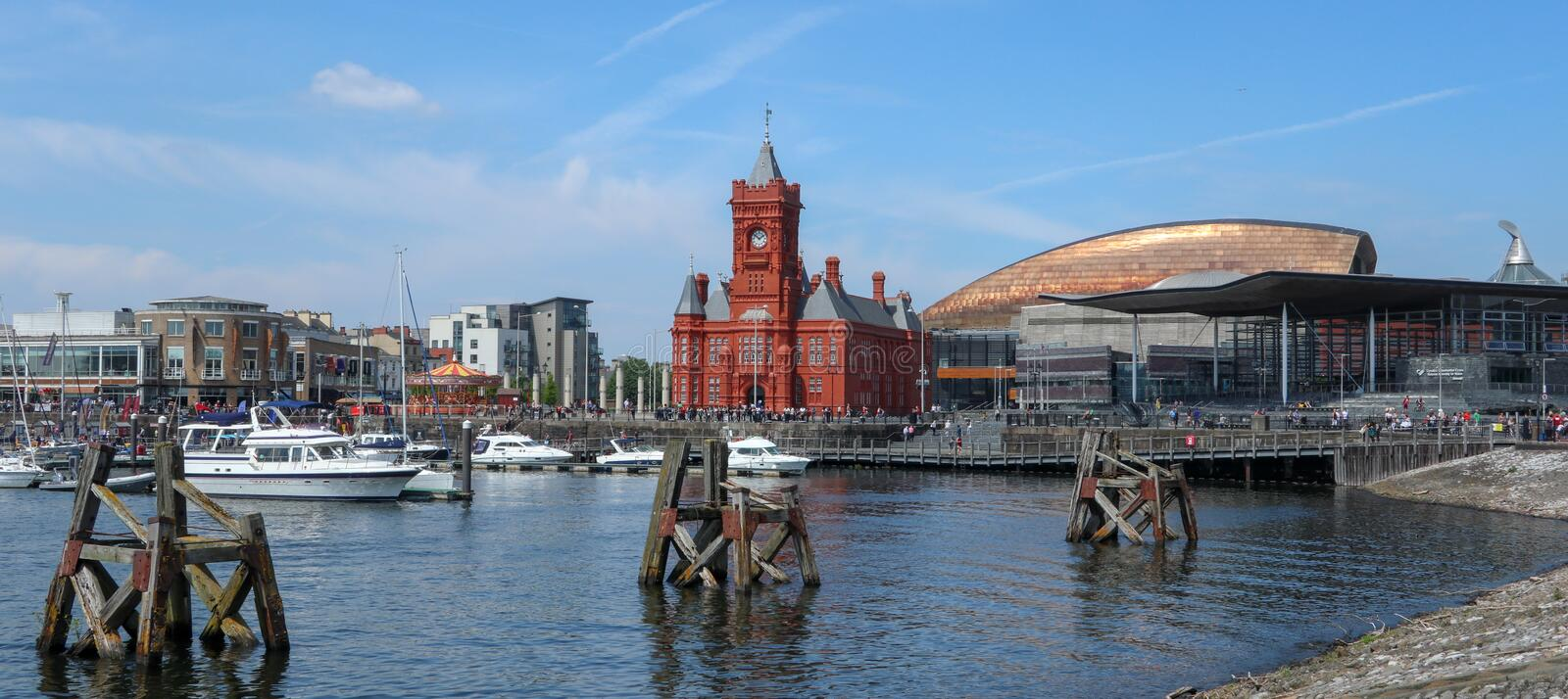 Cardiff Bay panoramic landmarks sunny blue sky day royalty free stock images