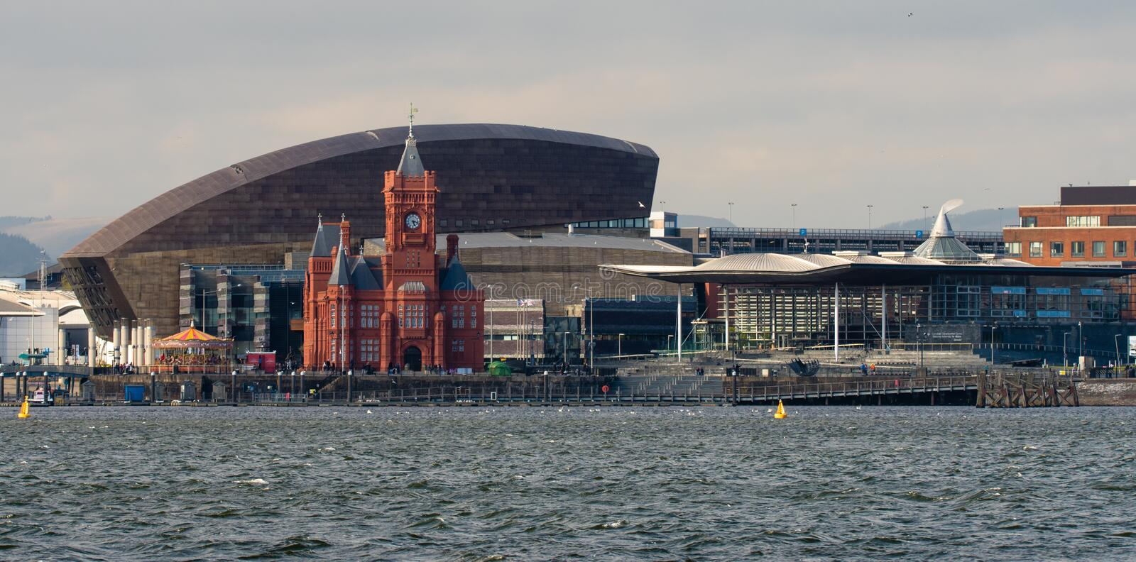 Cardiff Bay Seafront with National Assembly for Wales. Pierhead Building and Wales Millenium Centre with the Assembly complex in Cardiff Bay, Wales, UK royalty free stock images
