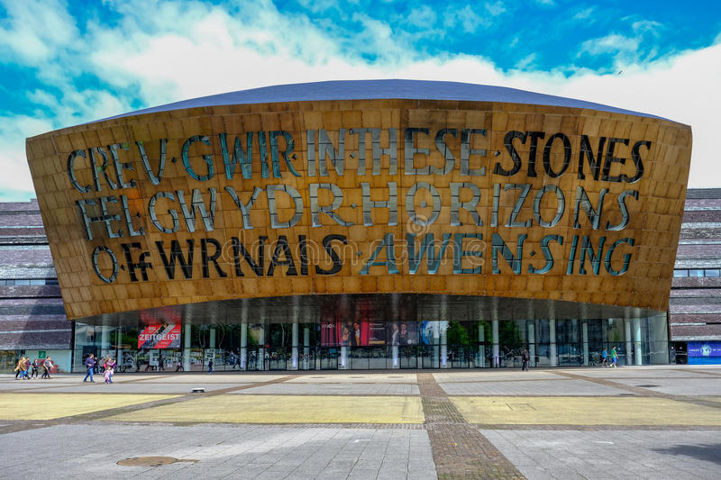 Cardiff Bay, Wales - May 20,2017: Millennium Centre for Arts, fa stock images