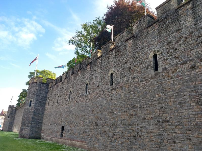 Cardiff castle. Cardiff City castle lateral view stock photography