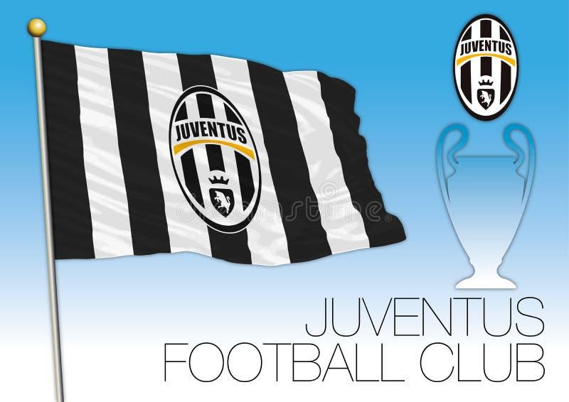 CARDIFF, REGNO UNITO, giugno 2017 - il finale sostiene la tazza della lega, bandiera del club di calcio di Juventus illustrazione di stock