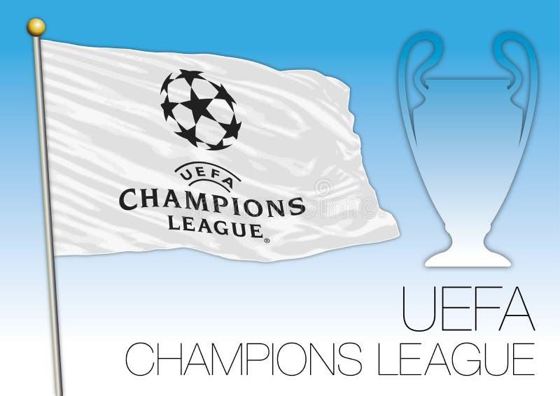 CARDIFF, REGNO UNITO, giugno 2017 - la partita finale sostiene la tazza della lega, il flaf dell'UEFA ed il simbolo illustrazione vettoriale