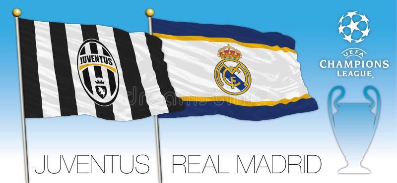 CARDIFF, REGNO UNITO, giugno 2017 - la partita finale sostiene la tazza della lega, la bandiera di Juventus ed il Real Madrid royalty illustrazione gratis