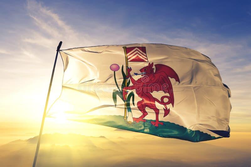 Cardiff van stof die van de de vlag de textieldoek van Wales op de hoogste mist van de zonsopgangmist golven royalty-vrije illustratie