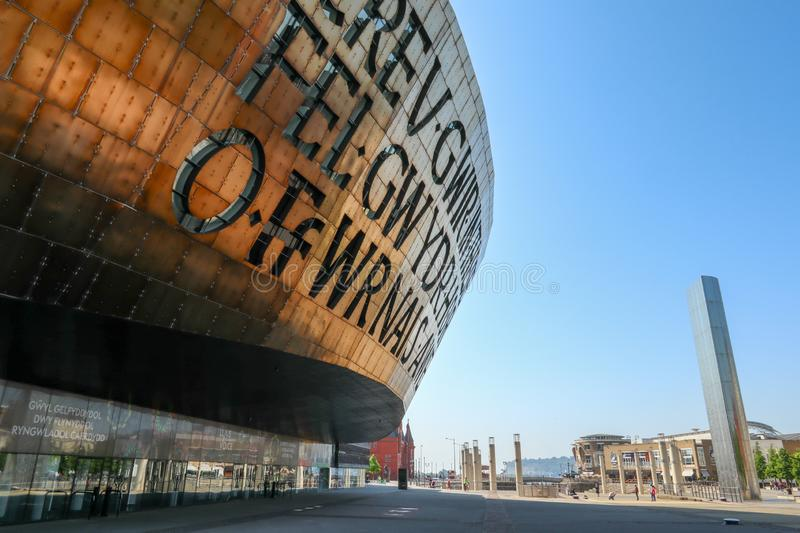 Cardiff Wales Millennium Centre and Water Tower royalty free stock photos