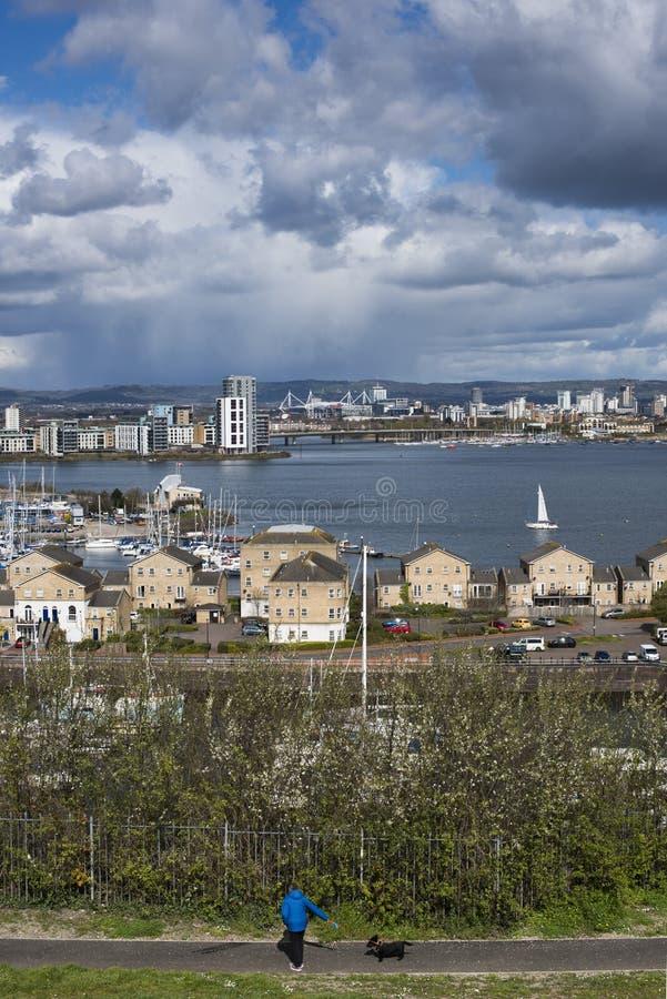 Cardiff zatoka od Penarth obraz royalty free