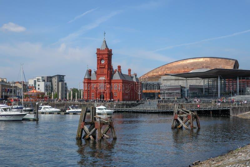 Cardiff zatoki pejzaż miejski Cardiff Walia fotografia stock