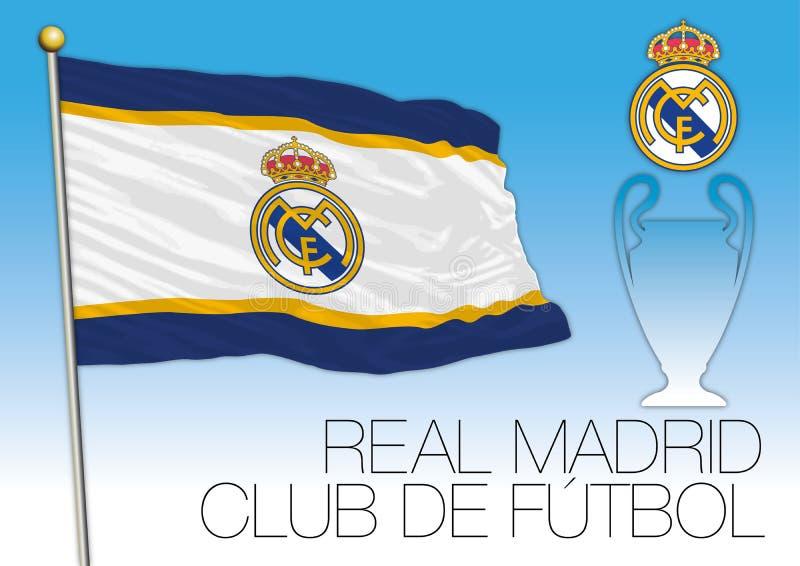 CARDIFF, ZJEDNOCZONE KRÓLESTWO, CZERWIEC 2017 - Definitywna champions league filiżanka, flaga Real Madrid futbolu klub ilustracji