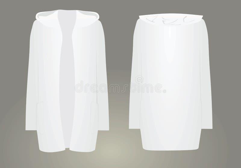 Cardigan con cappuccio bianco apertura anteriore illustrazione di stock