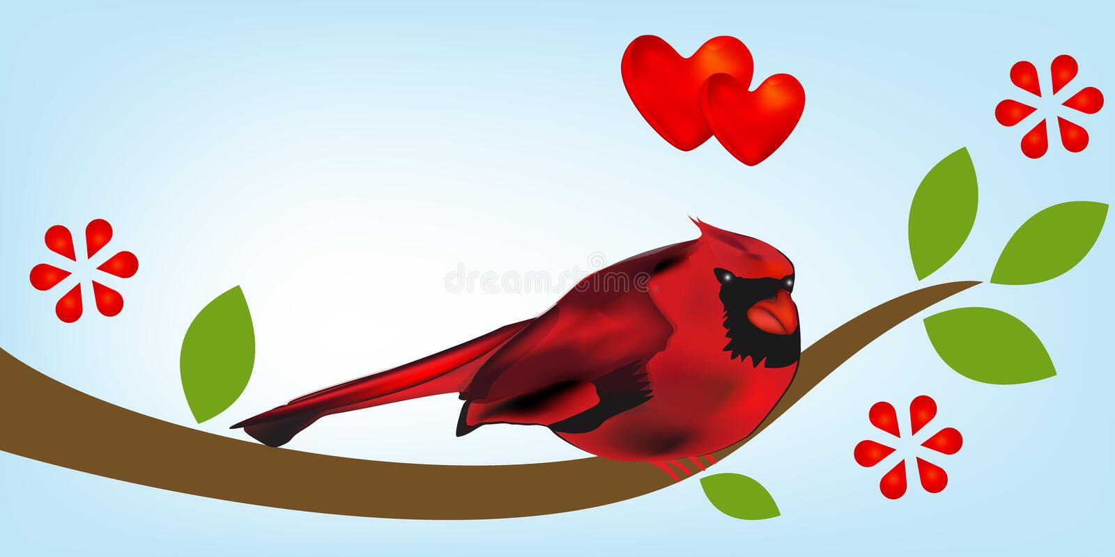 Cardinal Bird On Branch Tree Template Stock Vector Illustration Of
