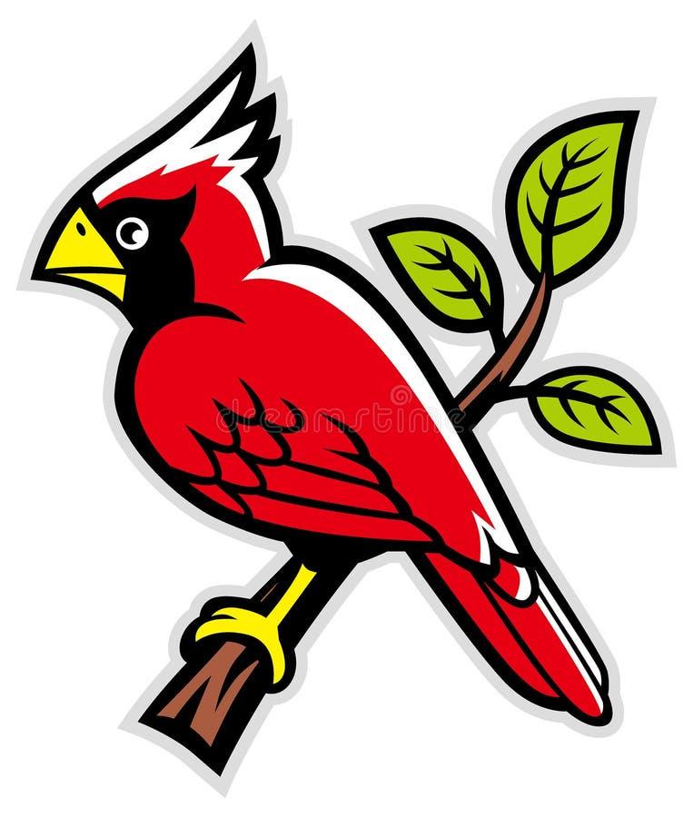 Cardinal bird on a tree branch royalty free illustration