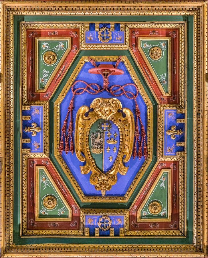 Cardinal Giulio Antonio Santori coat of arms in the Church of San Girolamo della Carità in Rome, Italy. San Girolamo della Carità is a church in Rome royalty free stock images