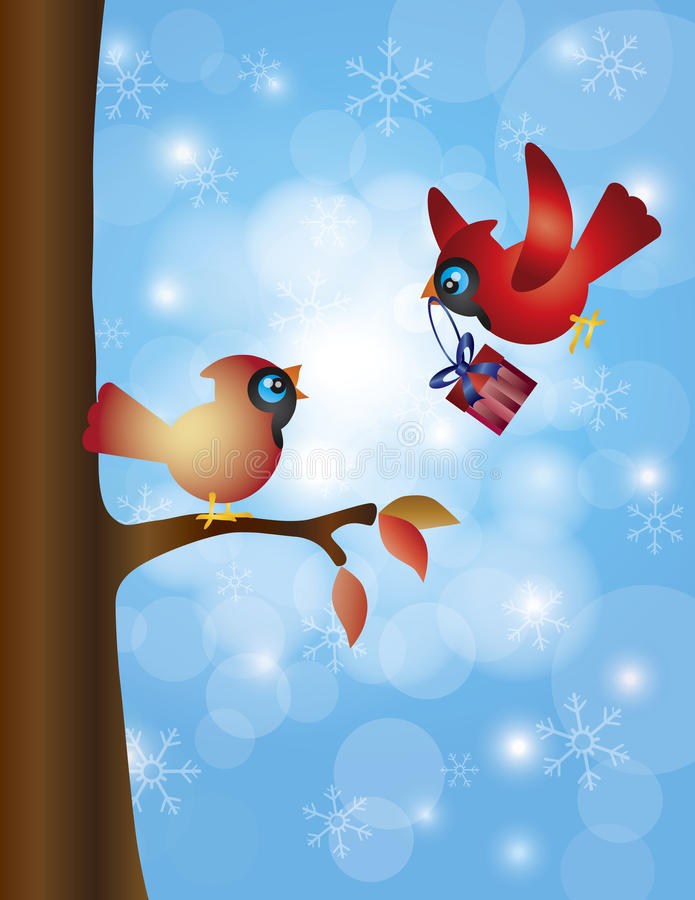 Cardinal Pair with Tree and Snowflakes royalty free illustration