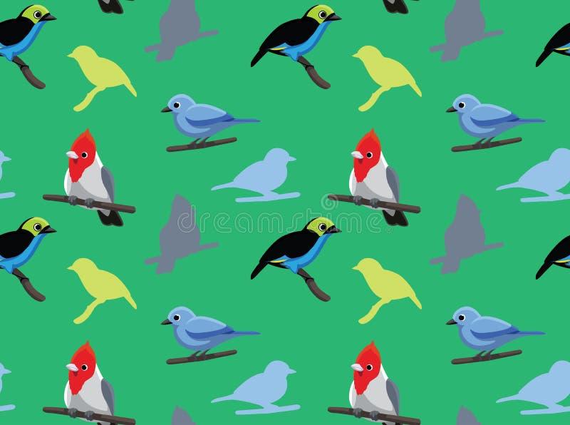 Cardinale Tanager Wallpaper 2 dell'uccello illustrazione vettoriale