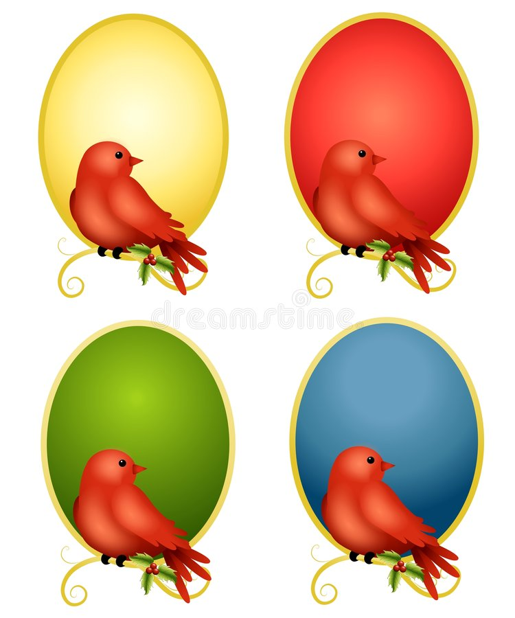 Cardinals Oval Backgrounds 2. Your choice of red cardinal bird illustrations sitting on in colourful ovals vector illustration
