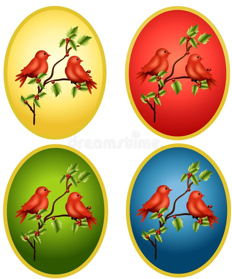 Cardinals Oval Backgrounds. Your choice of red cardinal bird illustrations sitting on holly branches in colourful ovals vector illustration