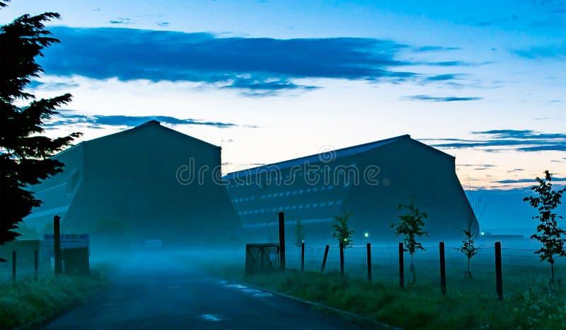 Cardington Sheds on Misty May Morning stock photos