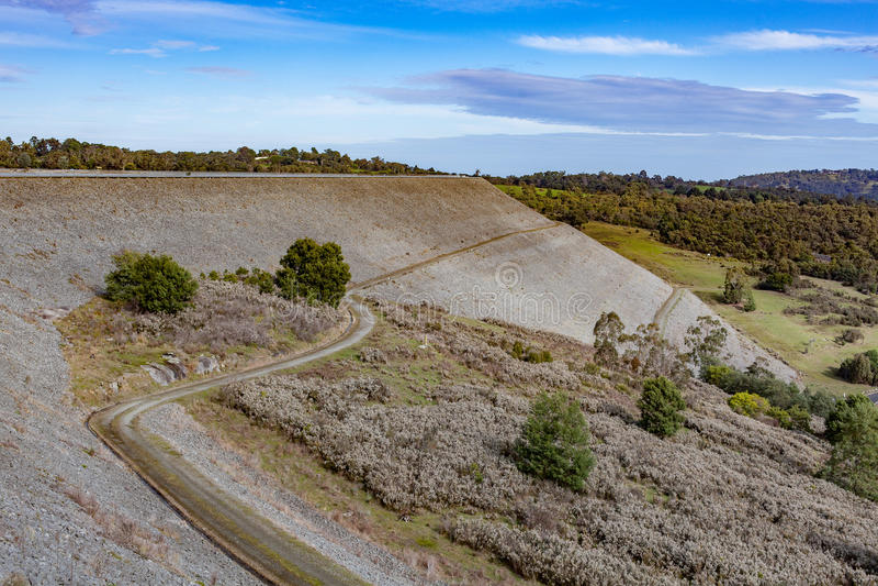 Cardinia水库水坝墙壁,维多利亚,澳大利亚 库存照片