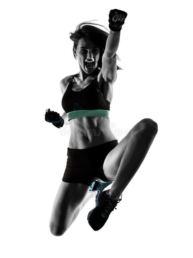 Cardio женщина аэробики тренировки фитнеса разминки ядра креста бокса стоковое изображение