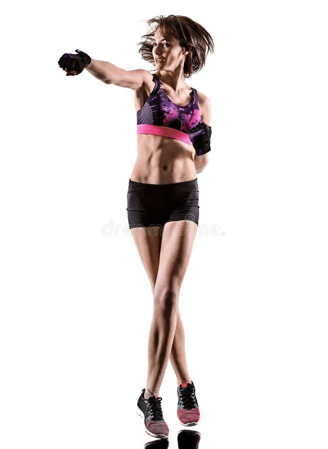 Cardio кладя в коробку перекрестная женщина аэробики тренировки фитнеса разминки ядра изолировала стоковое фото rf