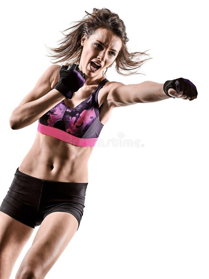 Cardio кладя в коробку перекрестная женщина аэробики тренировки фитнеса разминки ядра изолировала стоковое изображение