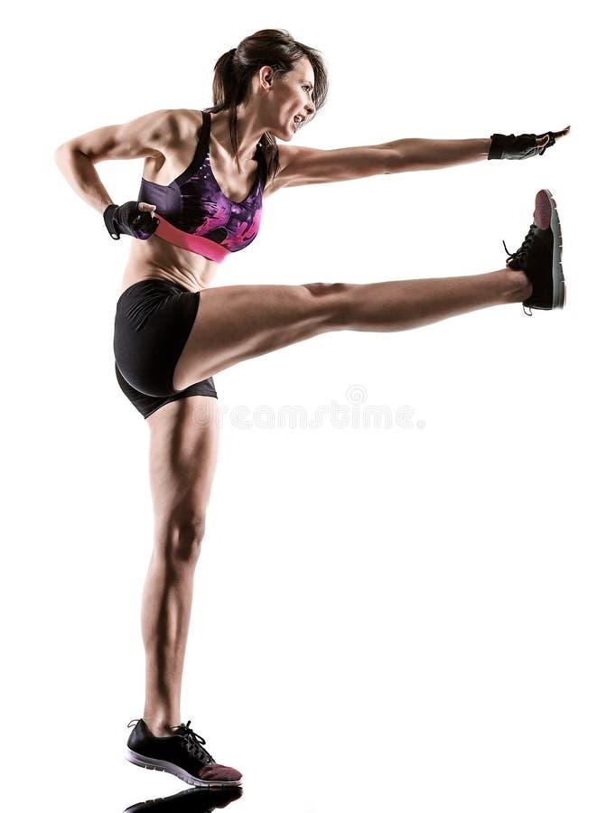 Cardio кладя в коробку перекрестная женщина аэробики тренировки фитнеса разминки ядра изолировала стоковые фото