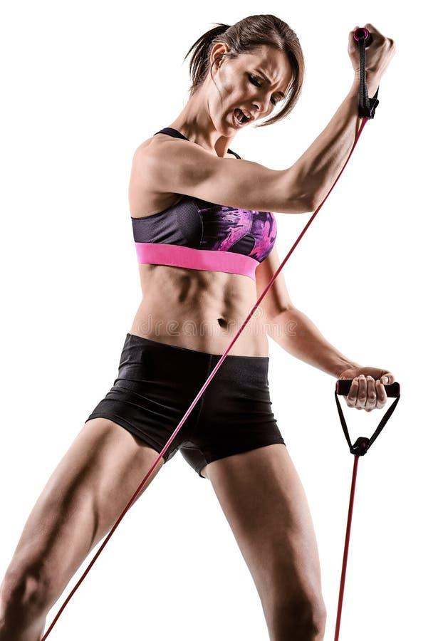 Cardio кладя в коробку перекрестная женщина аэробики тренировки фитнеса разминки ядра стоковые изображения rf