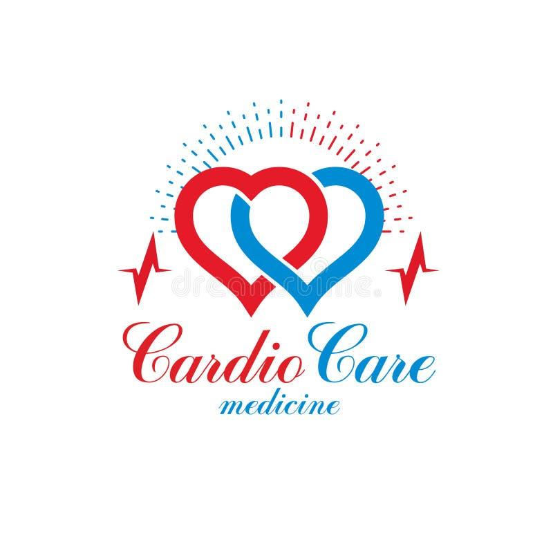 Cardio логотип конспекта вектора сделанный с красной формой сердца и ekg иллюстрация вектора