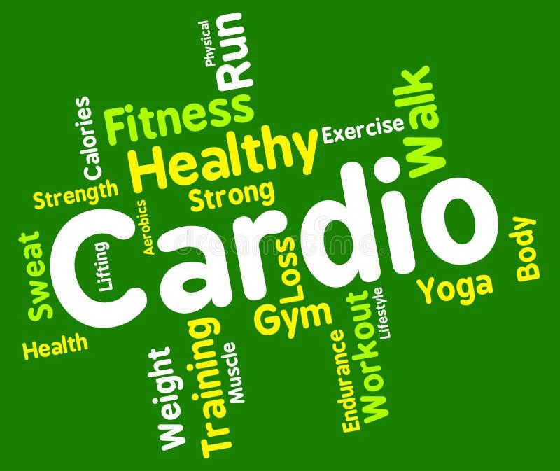 Cardio слово показывает получает пригонку и аэробику бесплатная иллюстрация