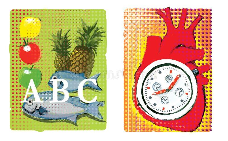Cardio- Ajuste de duas ilustrações sobre cardio- Alimento para a nutrição do músculo de coração ilustração royalty free