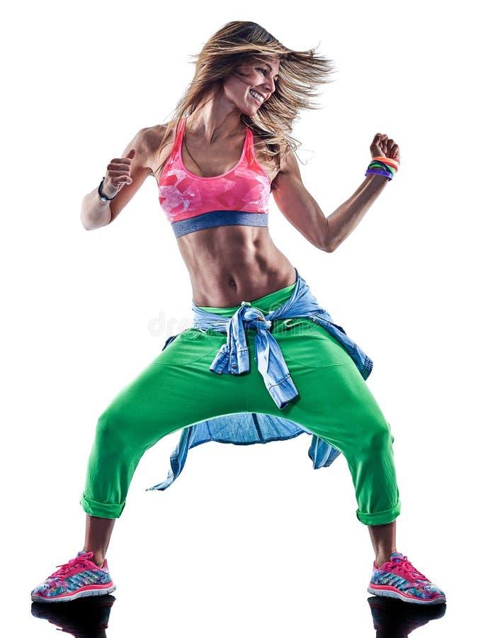 Cardio ballerini della donna che ballano forma fisica che esercita il isolat dei excercises fotografie stock