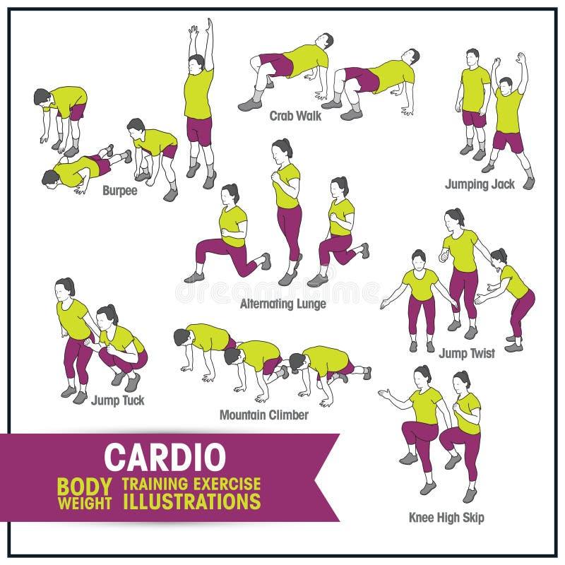 Cardio bodyweight ćwiczenia szkoleniowego ilustracje royalty ilustracja
