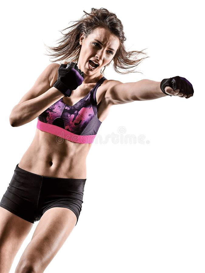 Cardio boxing cross core workout fitness exercise aerobics woman  isolated. One caucasian woman exercising cardio boxing cross core workout fitness exercise stock image