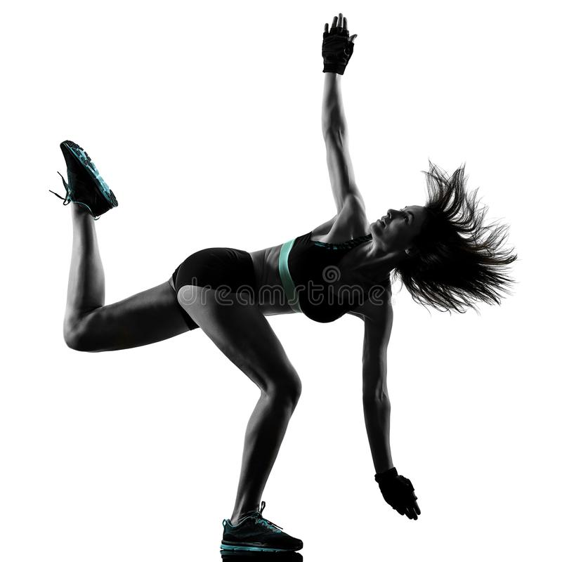 Cardio boxing cross core workout fitness exercise aerobics woman. One caucasian woman exercising cardio boxing cross core workout fitness exercise aerobics royalty free stock images