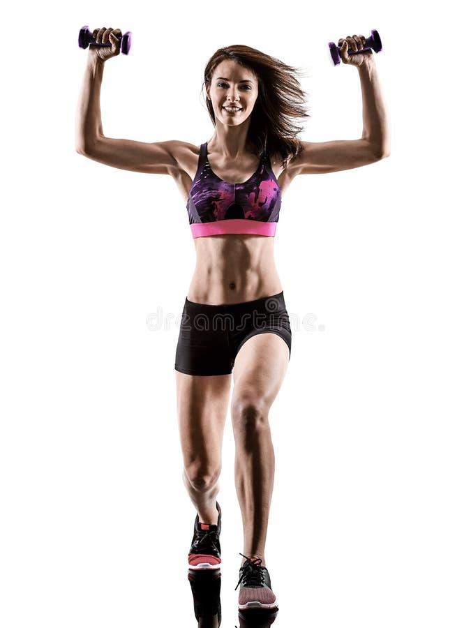 Cardio in dozen doende dwars van de de geschiktheidsoefening van de kerntraining de aerobicsvrouw stock foto