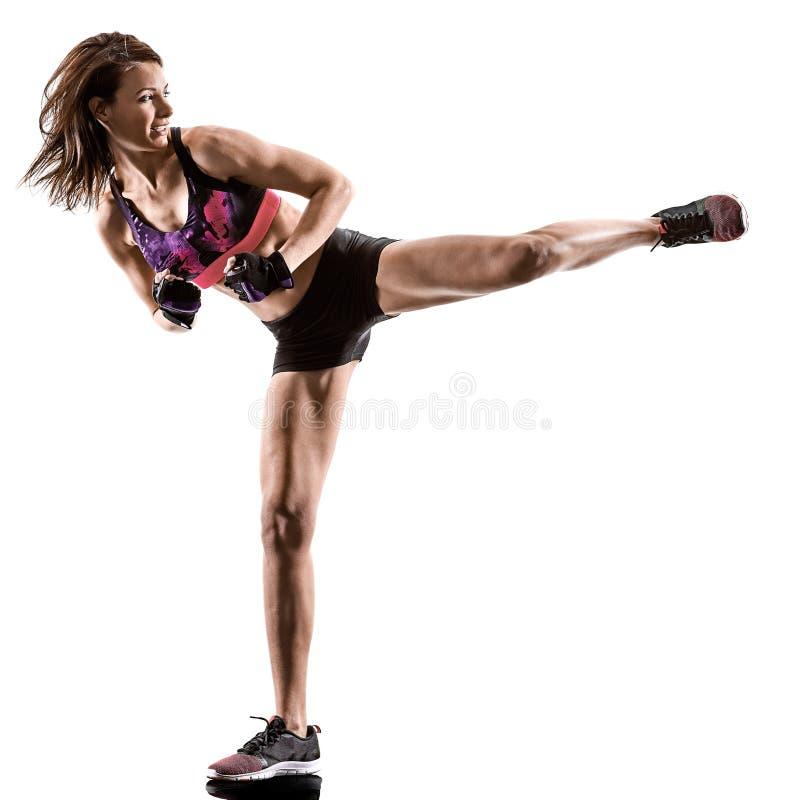 Cardio in dozen doende dwars van de de geschiktheidsoefening van de kerntraining de aerobicsvrouw stock afbeeldingen