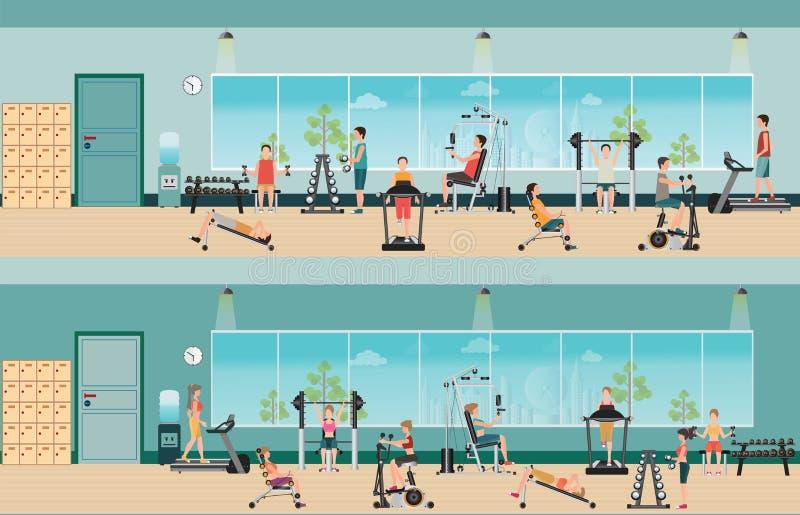 Cardio- exercice et équipement de forme physique avec des personnes dans le gymnase de forme physique illustration stock