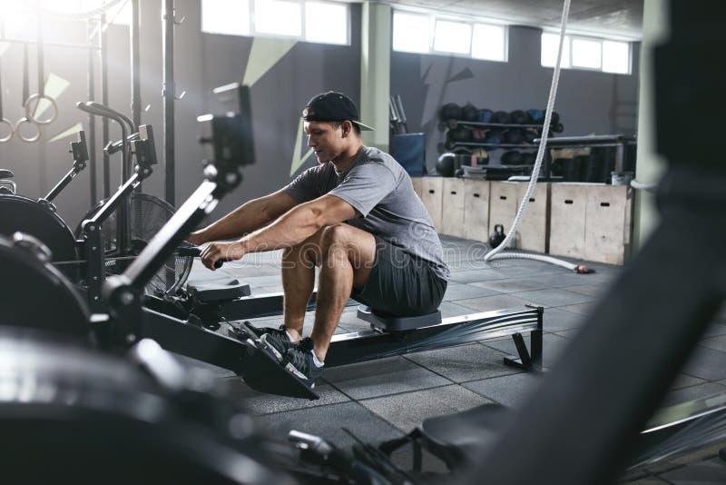 Cardio- formation Homme de sports s'exerçant sur la machine à ramer au gymnase images libres de droits